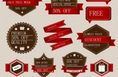 Red and Brown Discount Label Set Vector