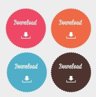 Colorful & Circular Download Button Set Vector