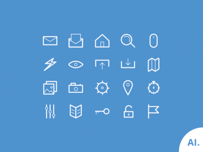 20 Simple Lined Icons Vector