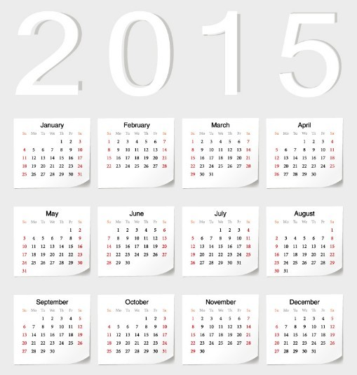 2015 Sticker Calendar Vector