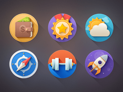 6 Nice Flat Long Shadow Icons PSD