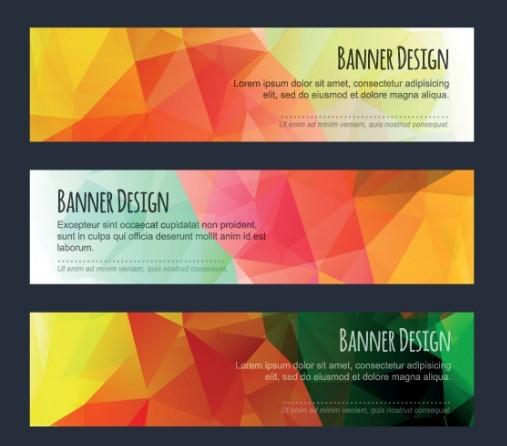 Colorful Low Polygon Banner Design Vector Vol.2