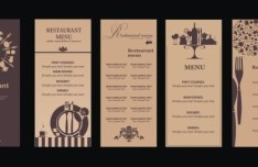 Vintage Brown Restaurant Menu Set Vector