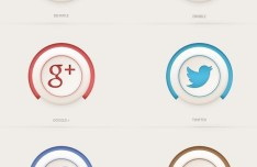 Semi 3D Social Media Icons PSD