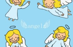 Cute Cartoon Heaven Angles Vector