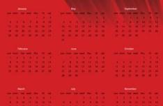 2015 Happy New Year Red Calendar Vector