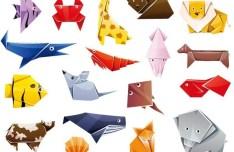 Cute Origami Animals Vector
