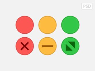 Yosemite Traffic-light Buttons PSD