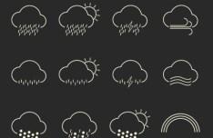Havadar Weather Line Icons Vector