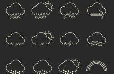 Havadar Weather Line Icons Vector