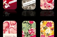 Romantic Valentine Card Set Vector