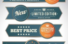 Vintage Promotion Ribbon Banner Set Vector