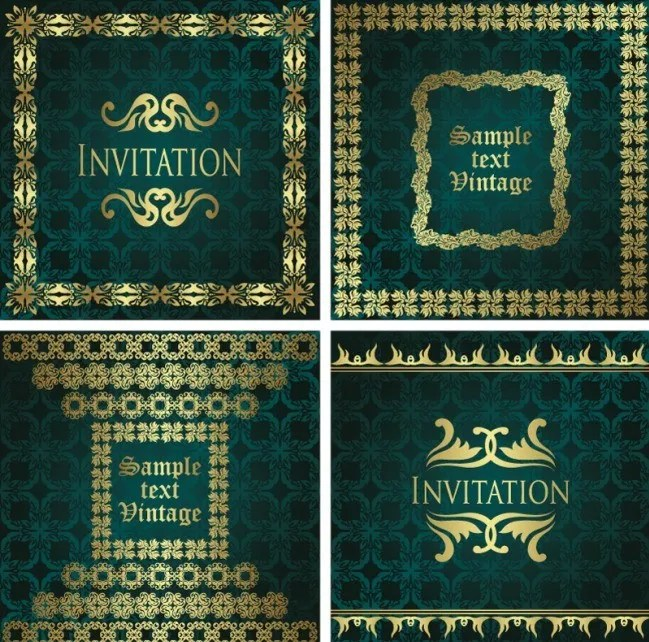 Dark Green Invitation Card with Gold Royal Border Vector