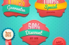 Sweet Pink Promotion Badge Set Vector