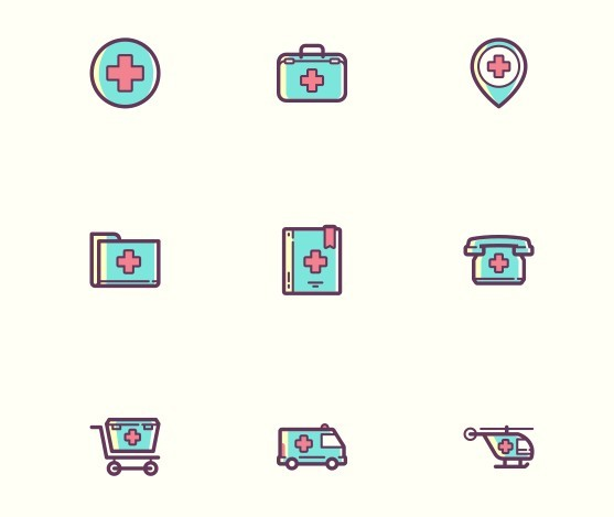 Colorful Medical Icon Set PSD