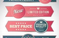 Elegant Promotion Ribbon Banner Set Vector