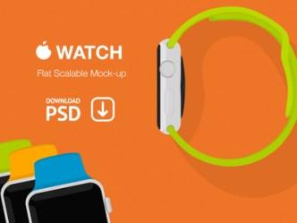 Apple Watch Flat Scalable Mockup PSD