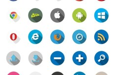 40 Flat Long Shadow Icons Vector PSD