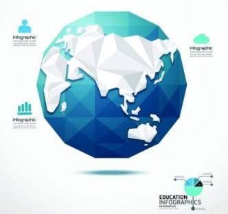 Low Poly Earth Education Infographic Elements Vector
