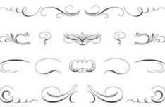 Pen Strokes Ornamental Corner Set 05