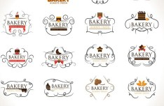Elegant Bakery Logo Set Vector