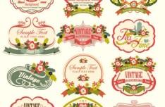 Vintage Floral Logo & Badge Set Vector