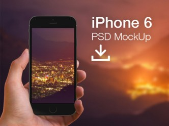 Dark iPhone 6 MockUp Hand View PSD