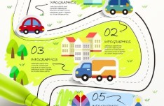 Cartoon City Infographic Elements Vector