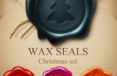 Wax Christmas Seal Set Vector