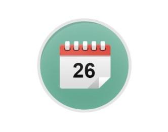 8 Flat Calendar Icons Vector PSD
