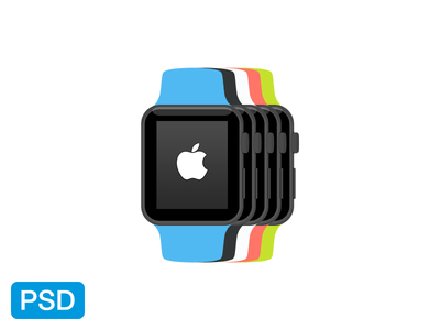 Apple Watch Flat Mockup PSD