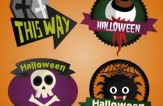 4 Cartoon Halloween Labels Vector
