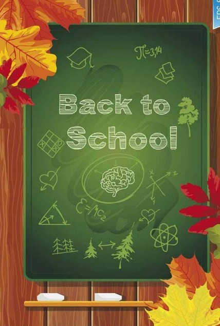 Autumn Back To School Chalkboard Vector