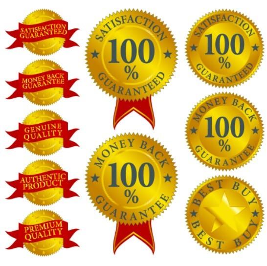 Golden 100 Quality Guaranteed Badge Vector Set