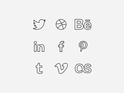 Social Line Icon Set Vector
