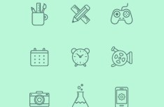 Fully Scalable Vector Line Icon Set