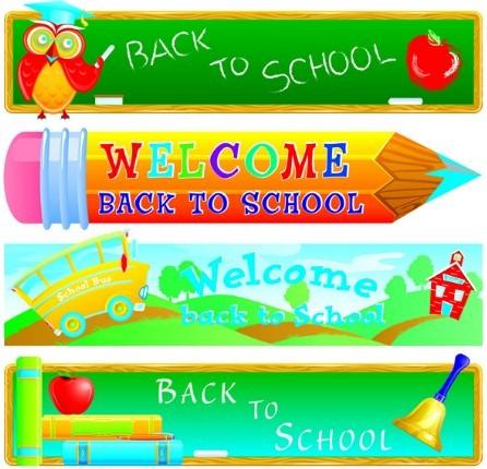 Cartoon Back To School Banner Set Vector