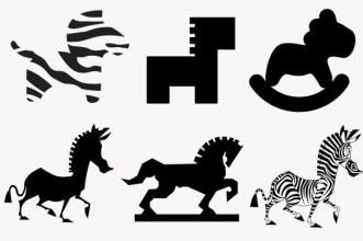 Horse Shape Silhouettes Vector