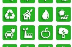 Flat Long Shadow Green ECO Icon Set Vector