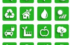 Flat Long Shadow Green ECO Icon Set Vector