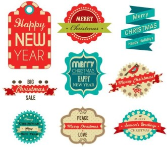 Christmas & Happy New Year Label Set Vector