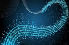 Curved Music Sheet Background Vector