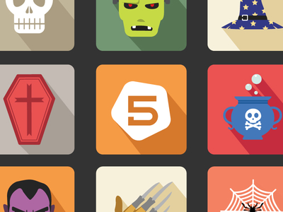 Flat Rounded Halloween Vector Icon Set