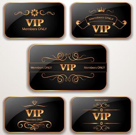 Elegant Dark VIP Card Templates Vector