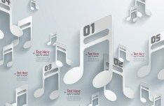 3D Origami Musical Notes Vector