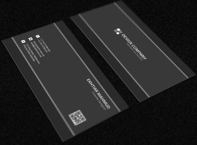 Dark Grey Business Card Mockup PSD