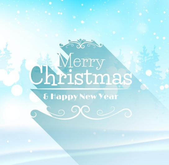 Long Shadow Christmas & New Year Background Vector