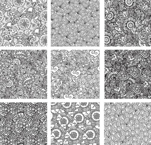 Flourish Vintage Pattern Set Vector