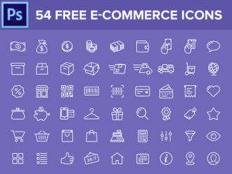 54 E-commerce Line Icons PSD