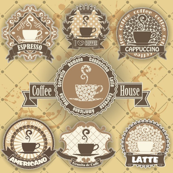 Free 7 vintage coffee house labels vector titanui for Classic house labels